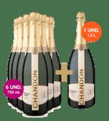 6 Espumantes Chandon Réserve Brut 750ml (Ganhe uma garrafa de 1,5L)
