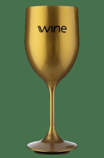 Taça Acrilico Vinho Dourada Marmorizada -  400 ml