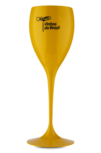 Taça de Acrílico Vinhos do Brasil Amarela