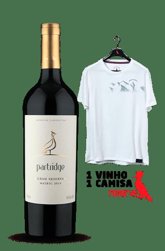 Vinho Partridge Gran Reserva Malbec 2016 + Camiseta Branca Aquarela Argentina G