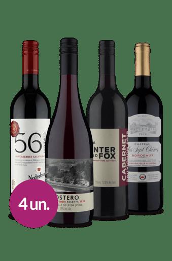 Kit Tintos Diversidade Uvas Mundiais (4 garrafas)
