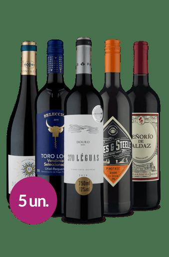 Kit Tintos Passaporte Maravilhas Wine (5 garrafas)