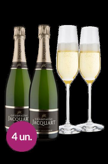Champagne Jacquart Mosaïque Brut + 2 Taças de Cristal