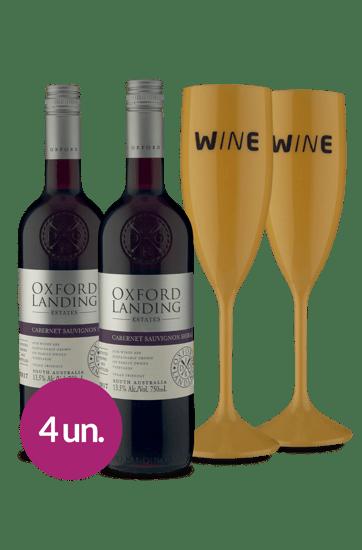 WineBox Duo Oxford Cabernet Shiraz + Taças