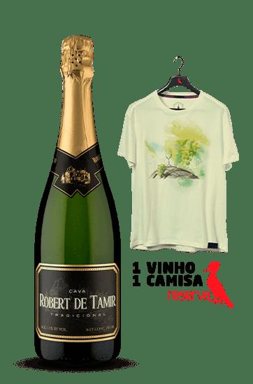 Espumante Robert De Tamir Reserva D.O. Cava Brut + Camiseta Amarela Aquarela Espanha P