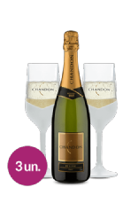 Espumante Chandon Réserve Brut Colors Collection com 2 Taças Brancas Exclusivas